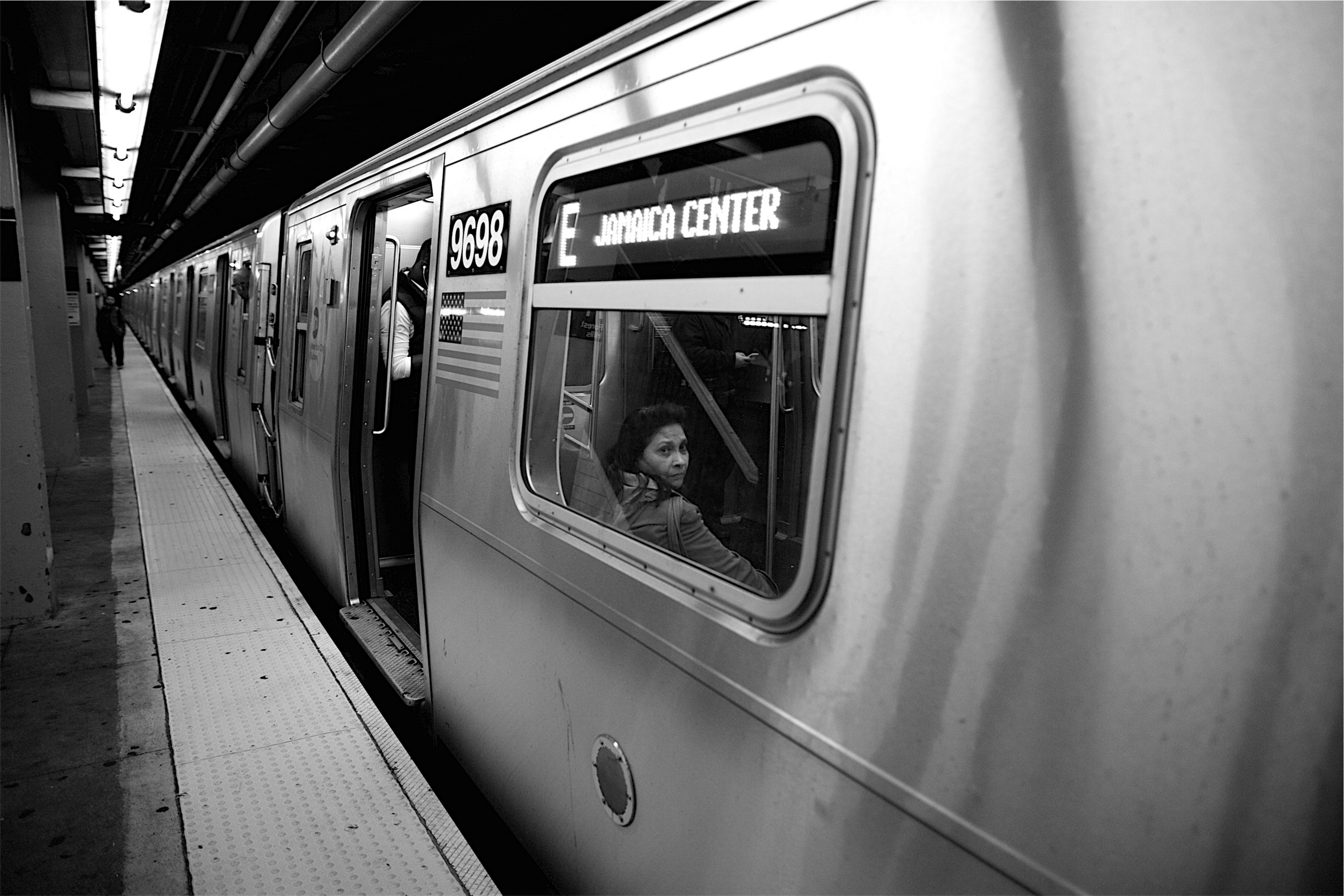 B/W photo of the E train, by Sean DuBois