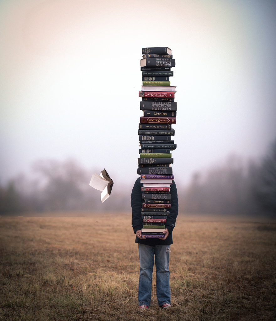 Person standing in a field holding a towering pile of books